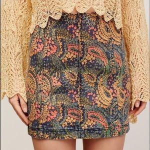 Free People Paisley Denim Paneled Mini Skirt